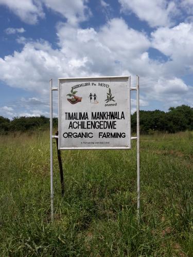 Das Hinweisschild auf die Farm an der vorbeiführenden Hauptstrasse M1. Die Schrift in Chichewa heißt übersetzt: In ein selbsttragendes Leben.  Wir bauen natürliche Arzneimittel an.
