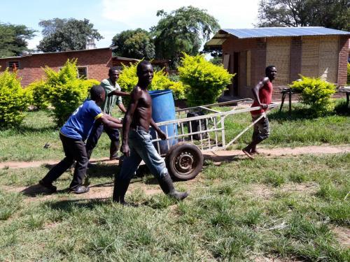 Der Transport des Wassers zum Gießen der Pflanzen ist anstrengende Handarbeit. Dafür gibt es keine Leitung, keinen Wasserhahn und keinen Schlauch wie bei uns.