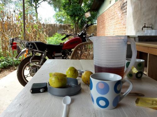 01.05.: der Tisch auf der Veranda. Im Hintergrund parkt das chinesische Moped Typ sanlg eines Besuchers, der gerade da ist.