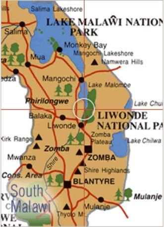 Überblick über Zomba mit Hochplateau und Liwonde mit Nationalpark.