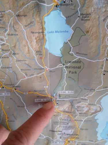 Lageplan des Nationalparks Liwonde.