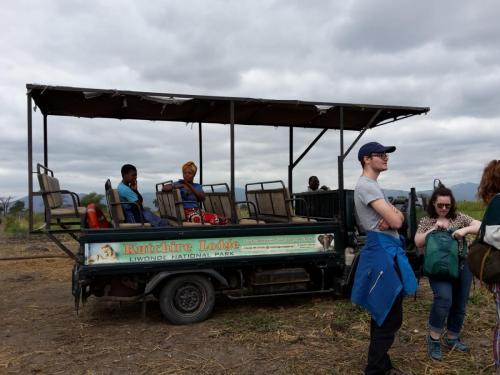 Am ersten Tag findet die Safari bei nieseligem Wetter mit dem Jeep statt.